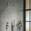 Arezzo Chrome Industrial Style Shower System with Concealed Valve, Head + Handset profile small image view 1