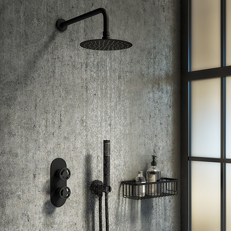 Arezzo Matt Black Industrial Style Shower System with Concealed Valve, Head + Handset