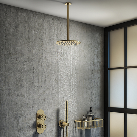 Arezzo Brushed Brass Industrial Style Shower System with Concealed Valve, Handset + Ceiling Mounted