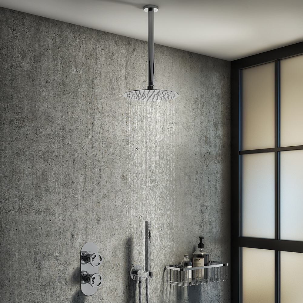 Arezzo Chrome Industrial Style Shower System with Concealed Valve, Handset + Ceiling Mounted Head