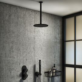 Arezzo Matt Black Industrial Style Shower System with Valve, Handset + Ceiling Mounted Head