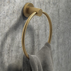 Arezzo Industrial Style Brushed Brass Round Towel Ring profile small image view 1