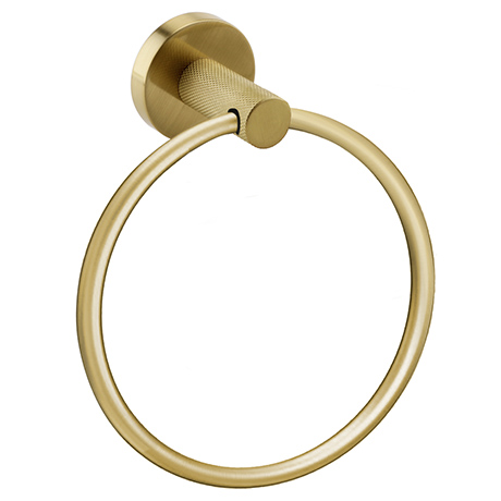 Arezzo Industrial Style Brushed Brass Round Towel Ring