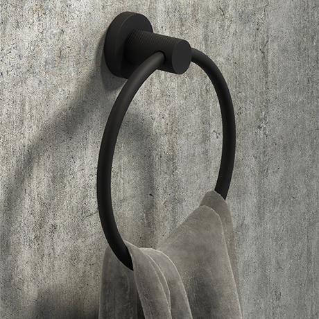 Arezzo Industrial Style Matt Black Round Towel Ring