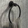 Arezzo Industrial Style Matt Black Round Towel Ring profile small image view 1