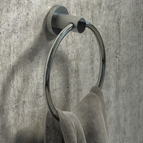 Arezzo Industrial Style Chrome Round Towel Ring