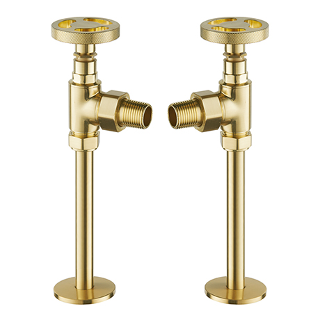 Arezzo Brushed Brass Industrial Style Angled Radiator Valves