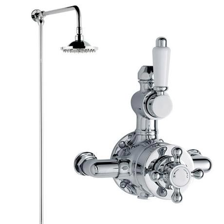 Traditional Twin Shower Valve with Rigid Riser Kit - Chrome