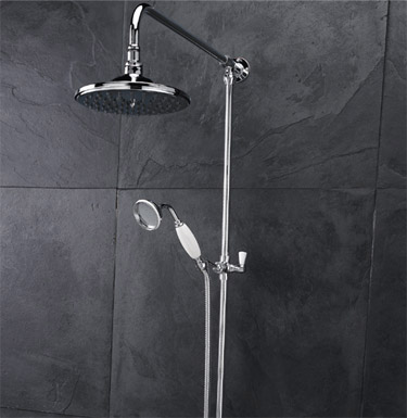 Traditional Twin Valve with Grand Rigid Riser Kit & Shower Rose - Chrome Feature Large Image