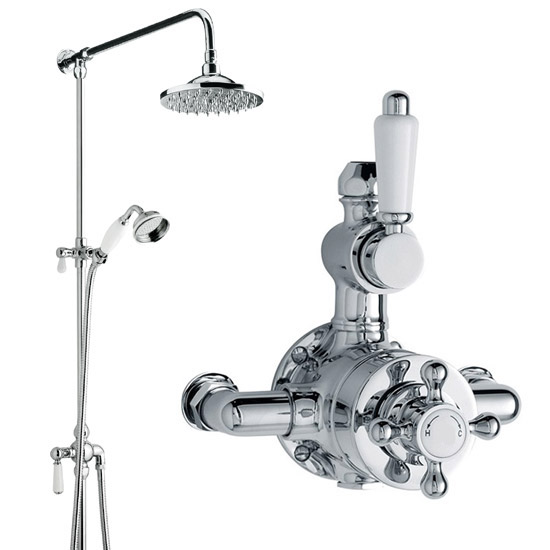 Traditional Twin Valve with Grand Rigid Riser Kit & Shower Rose - Chrome Large Image