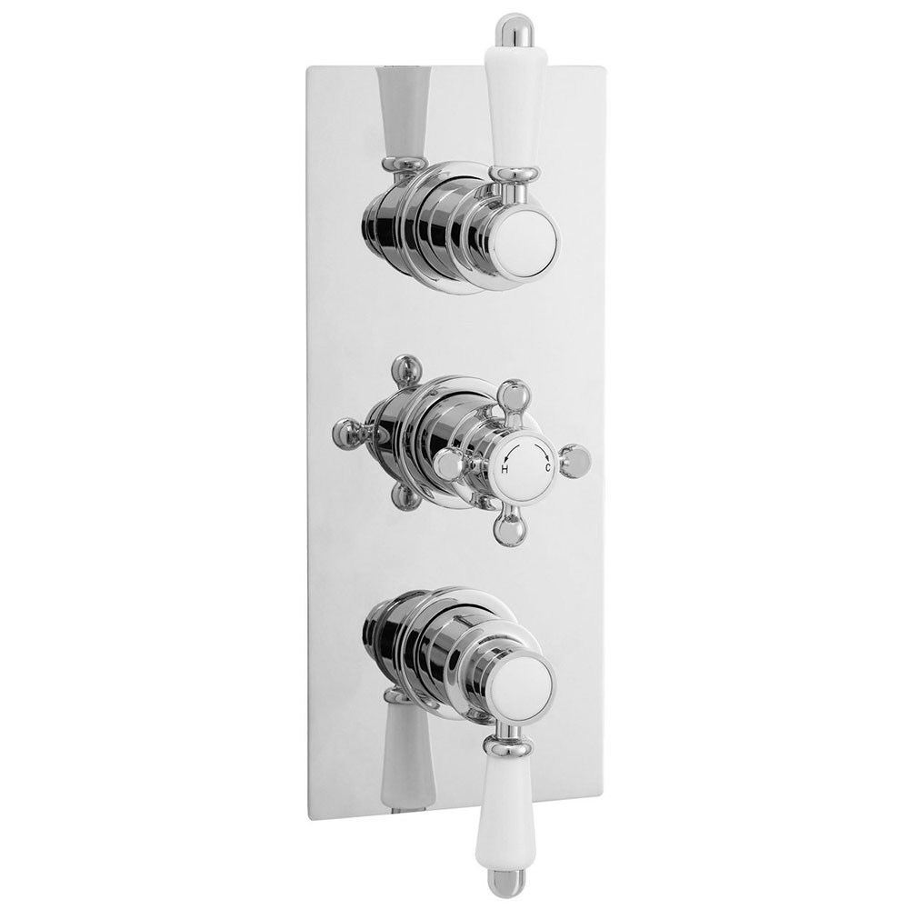 Ultra Edwardian Triple Concealed Thermostatic Shower Valve with Rectangular Plate - ITY315