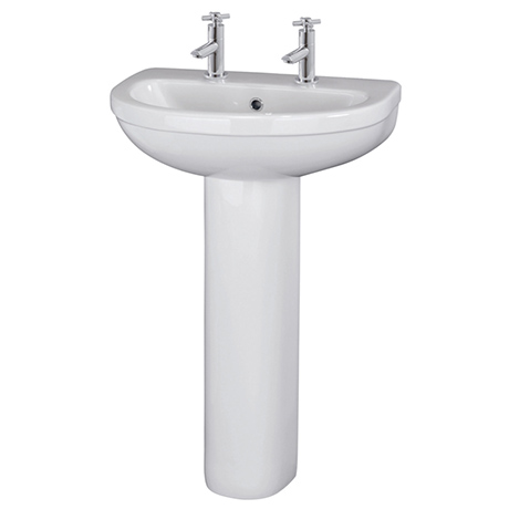 Nuie Ivo Basin with Full Pedestal (555mm Wide - 2 Tap Hole)
