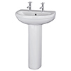 Nuie Ivo Basin with Full Pedestal (555mm Wide - 2 Tap Hole) profile small image view 1