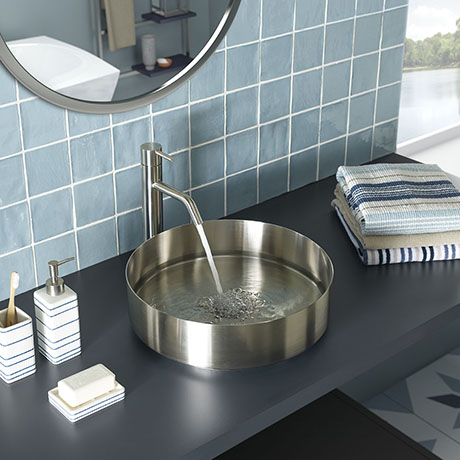 JTP Vos Round Inox Stainless Steel Counter Top Basin + Waste