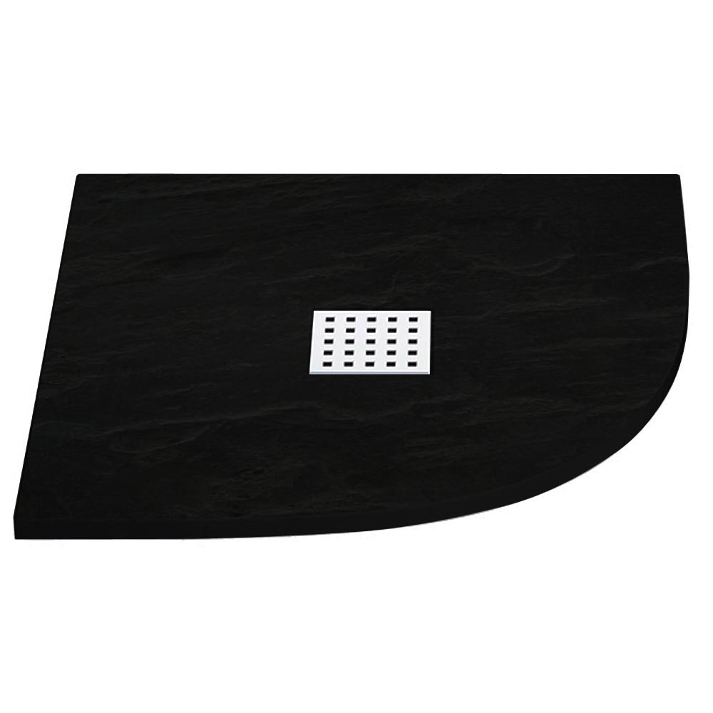 Imperia Black Slate Effect Quadrant Shower Tray 800 x 800mm Inc. Chrome Waste Large Image