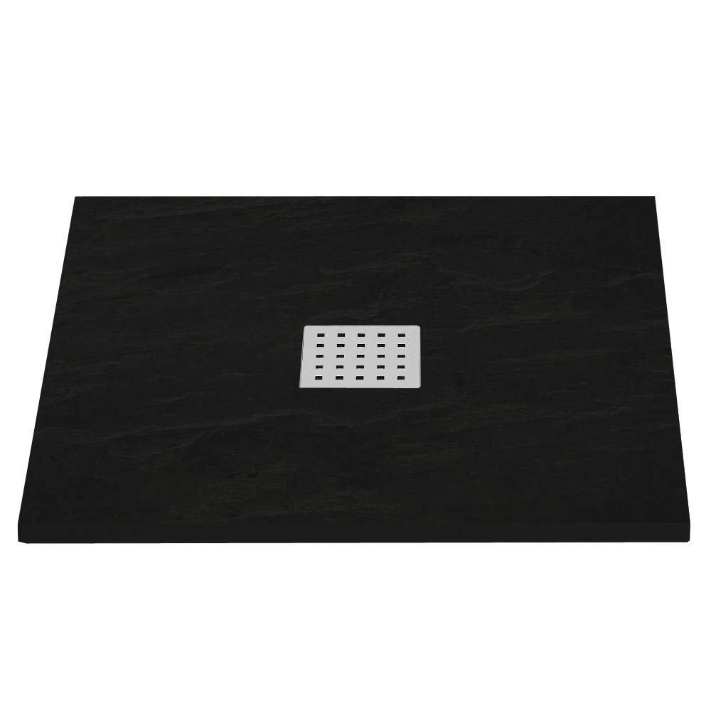 Imperia Black Slate Effect Square Shower Tray 800 x 800mm Inc. Chrome Waste Large Image