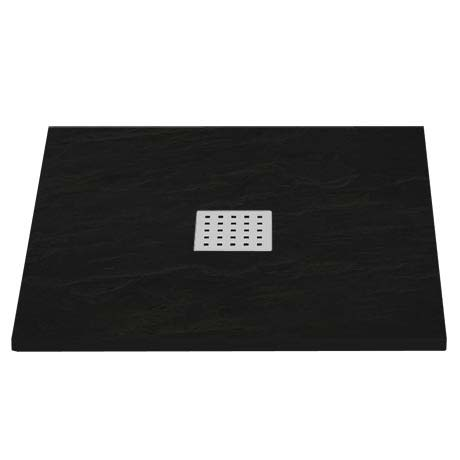 Imperia Black Slate Effect Square Shower Tray 800 x 800mm Inc. Chrome Waste