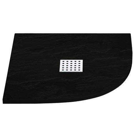 Imperia Black Slate Effect Quadrant Shower Tray 900 x 900mm Inc. Chrome Waste