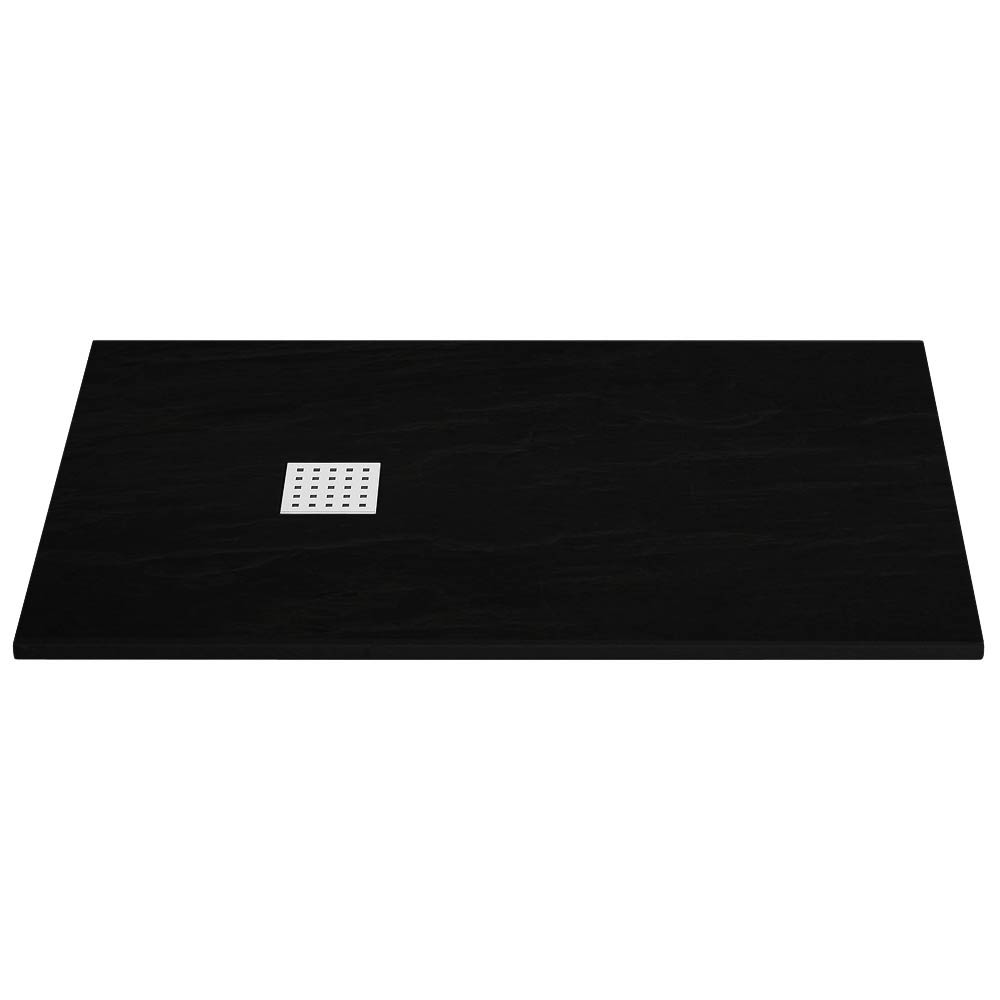 Imperia Black Slate Rectangular Shower Tray 1400 x 800mm Inc. Chrome Waste Large Image
