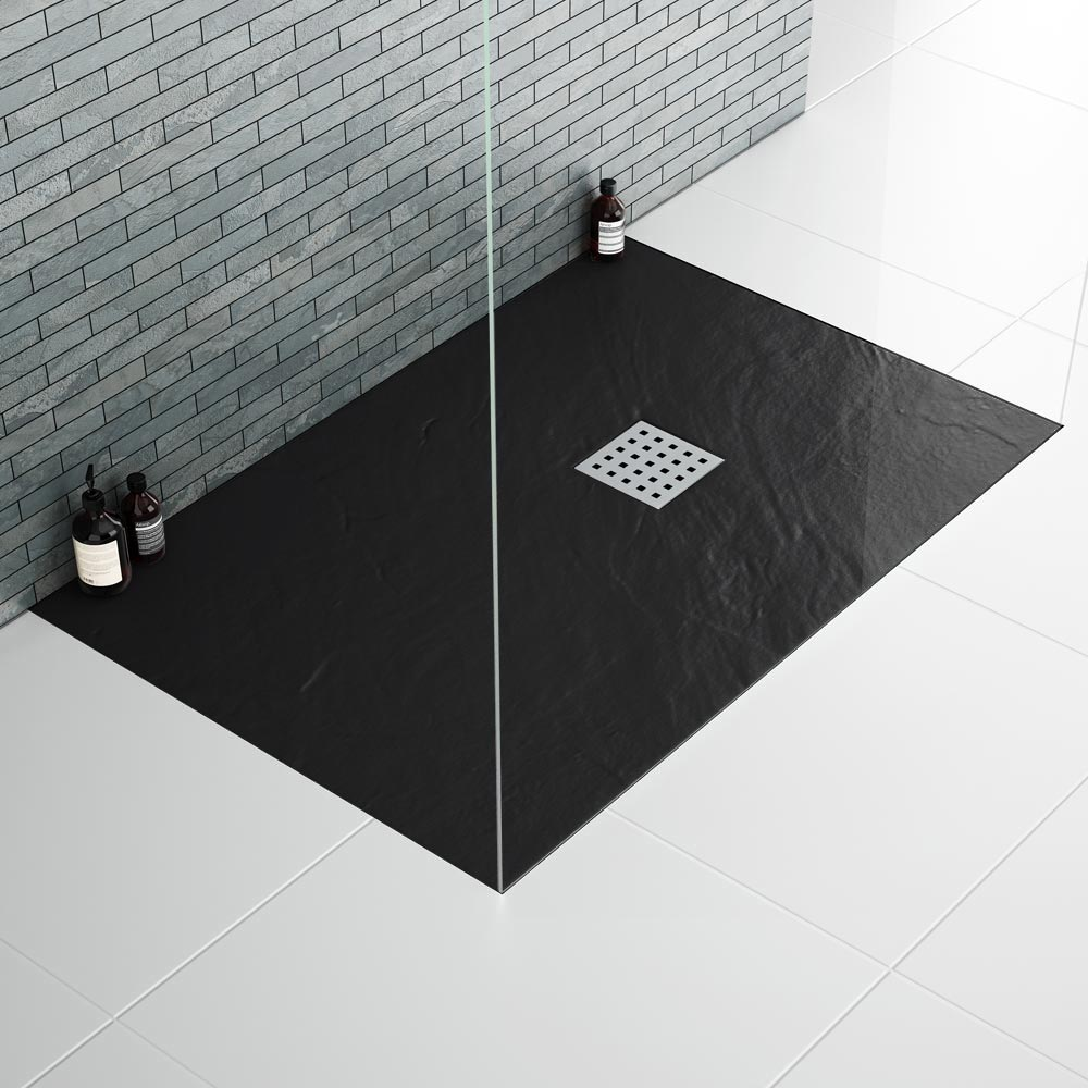 Imperia Black Slate Rectangular Shower Tray 1600 x 800mm Inc. Chrome Waste Feature Large Image