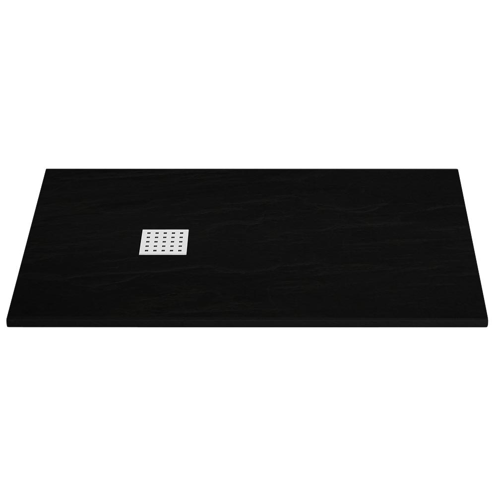 Imperia Black Slate Rectangular Shower Tray 1600 x 800mm Inc. Chrome Waste Large Image