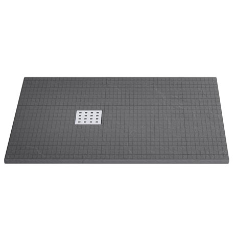 Imperia Graphite Mosaic 1200 x 800mm Slate Effect Rectangular Shower Tray Inc. Waste