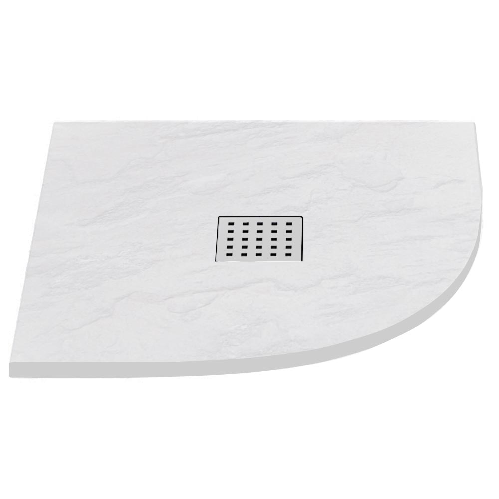 Imperia White Slate Effect Quadrant Shower Tray 800 x 800mm Inc. Chrome Waste Large Image