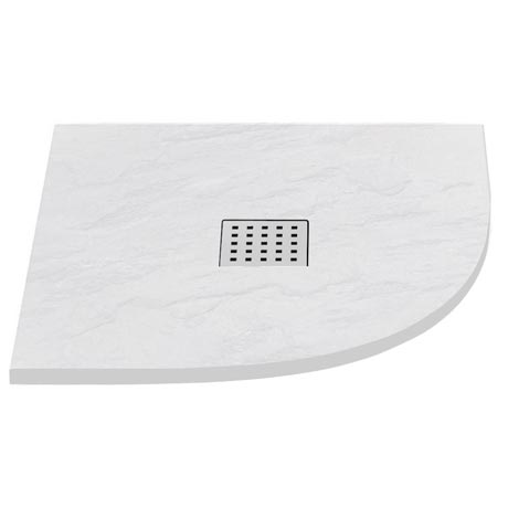 Imperia White Slate Effect Quadrant Shower Tray 900 x 900mm Inc. Chrome Waste