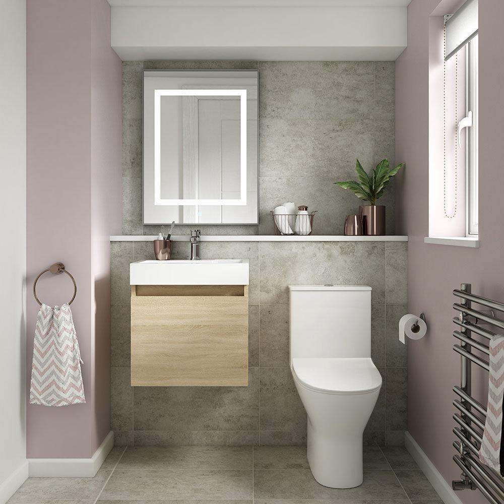Milan Juno Natural Oak Cloakroom Suite