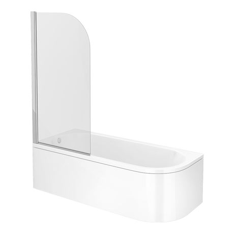 J-Shaped Shower Bath - 1700mm with Screen + Curved Panel