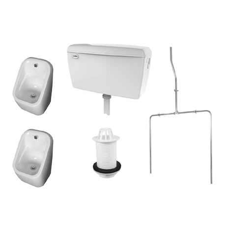 RAK Exposed Urinal Pack with 2 Series 600 Urinal Bowls