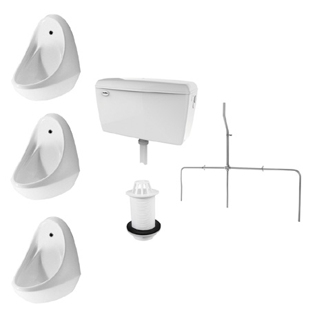 RAK Exposed Urinal Pack with 3 Jazira Urinal Bowls