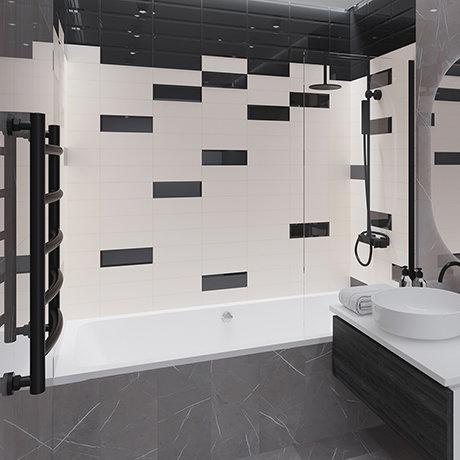 Jasper Metro Black Bevelled Wall Tiles - 100 x 300mm