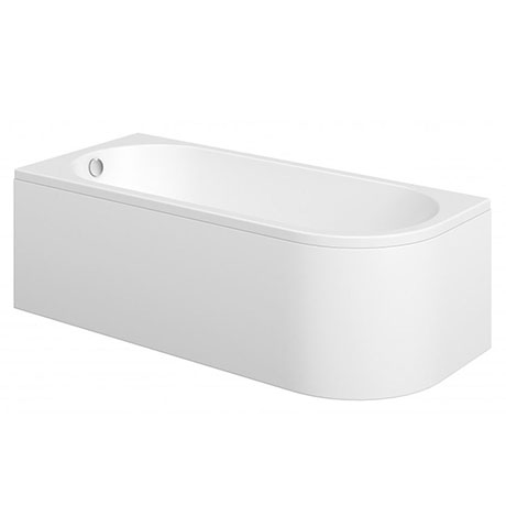 J-Shaped 1700mm Single Ended Bath + Curved Panel