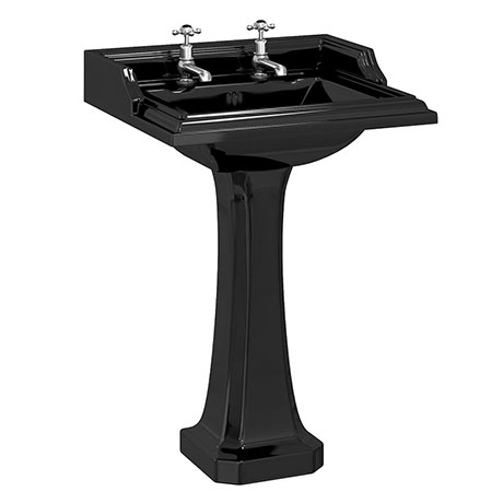Burlington Jet Black Classic 65cm Basin with Classic Pedestal