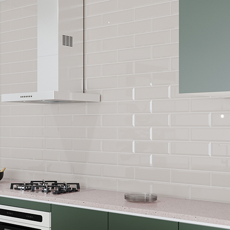 Jasper Metro Light Grey Bevelled Wall Tiles - 100 x 300mm