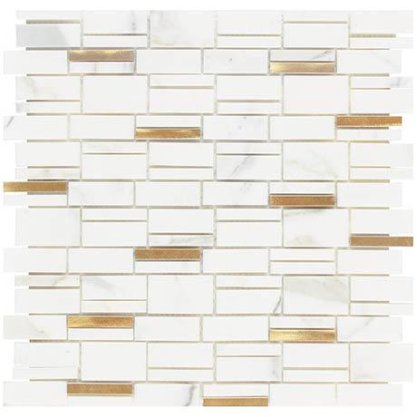 Marble & Gold Effect Mosaic Tile Sheet - Julien Macdonald - 300 x 300mm