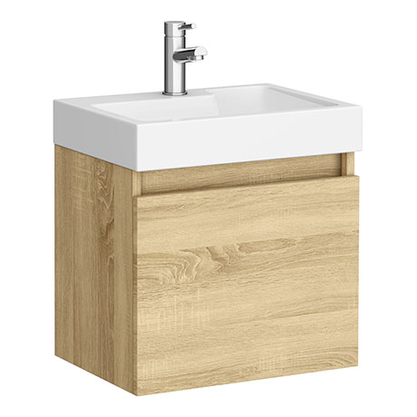Juno 500 x 360mm Natural Oak Wall Hung Vanity Unit