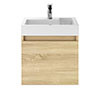 Juno 500 x 360mm Natural Oak Wall Hung Vanity Unit Medium Image