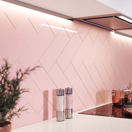 Jasper Metro Pink Flat Wall Tiles - 100 x 300mm