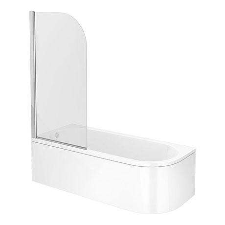 J-Shaped Shower Bath (1700mm with Screen + Curved Panel)