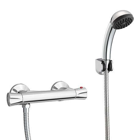 Naples Contemporary Thermostatic Shower Bar Valve + Shower Kit