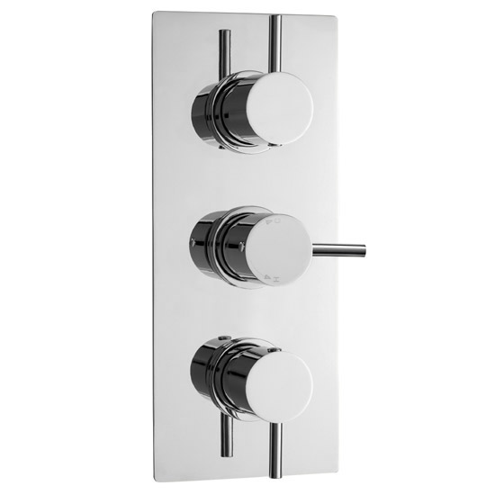 Ultra Quest Triple Thermostatic Valve with Round Shower Head & Handset Profile Large Image