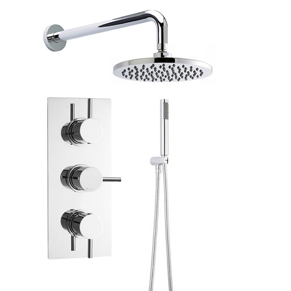 Ultra Quest Triple Thermostatic Valve with Round Shower Head & Handset Large Image