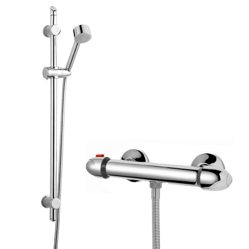 Modern Slide Rail Shower Kit with Thermostatic Bar Valve - Chrome profile large image view 1