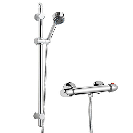 Modern Slide Rail Shower Kit with Thermostatic Bar Valve - Chrome