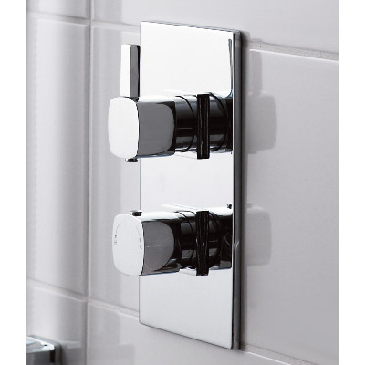 Soft Square Twin Concealed Thermostatic Shower Valve - Chrome - JTY362 Profile Large Image