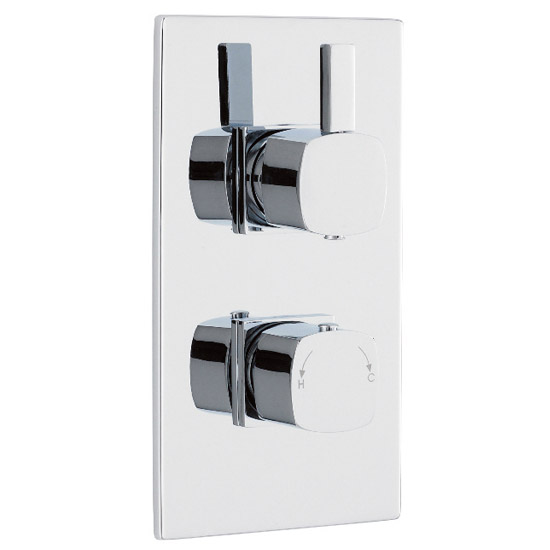 Soft Square Twin Concealed Thermostatic Shower Valve - Chrome - JTY362 Large Image
