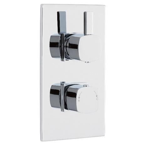 Soft Square Twin Concealed Thermostatic Shower Valve - Chrome - JTY362