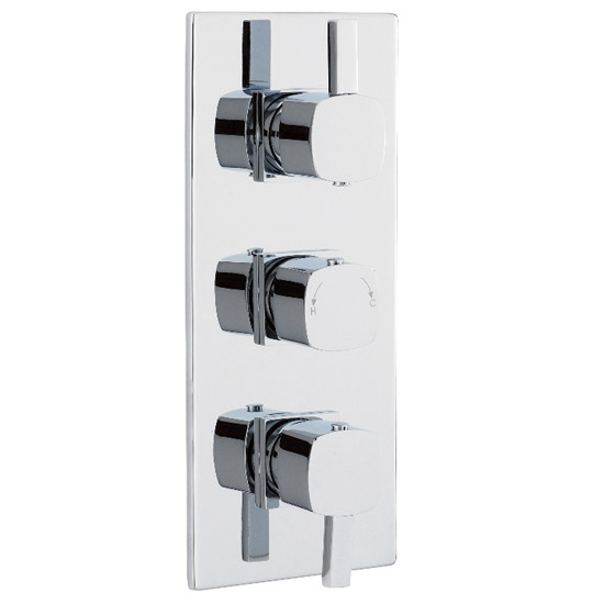 Soft Square Triple Concealed Thermostatic Shower Valve - Chrome - JTY364 Large Image